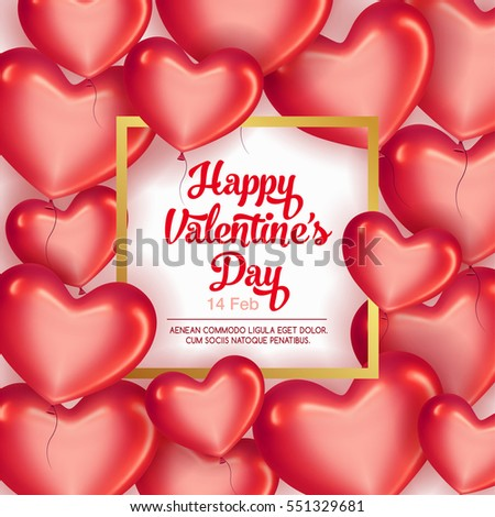 Card with frame and Red hearts on Valentine's Day. Be my Valentine card concept.   Empty space for your text. Vector illustration