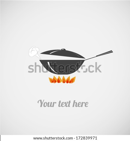 Card with frying pan on fire. Vector illustration with wok.  - stock vector