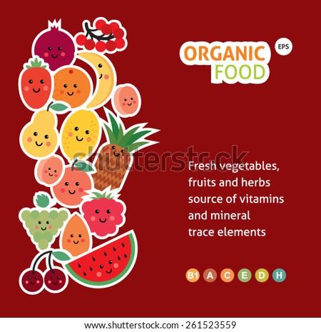 Card with  funny fruit. organic food menu - stock vector