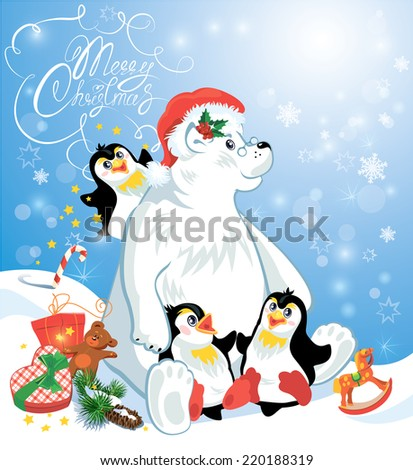 Card with funny penguins and polar bear with presents on blue snow background, cartoons for winter, Christmas or New Year design. Hand written text Merry Christmas. - stock vector