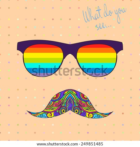 Card with glasses and mustache. Frame of ornament bright made in vector. Perfect cards, or for any other kind of design, birthday and other holiday. Hand drawn map with glasses.  - stock vector