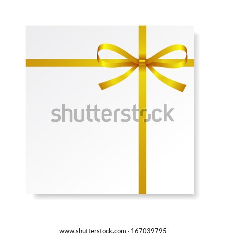 Card with gold gift bow with ribbons, vector - stock vector