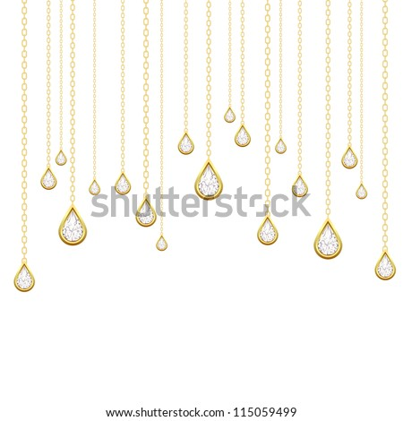 Card with golden drops with brilliants on a white background. Vector illustration - stock vector