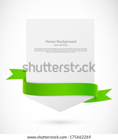 Card with green ribbon - stock vector