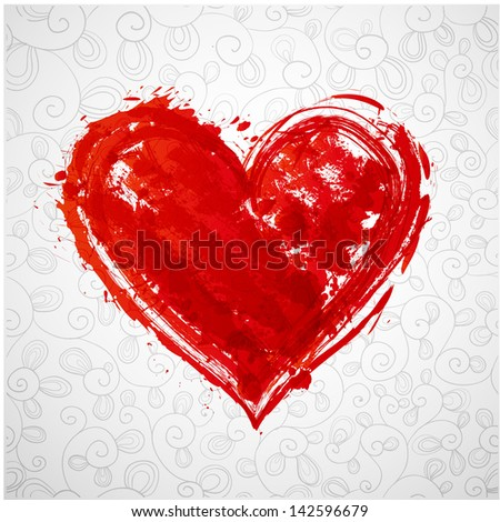 Card with grunge heart and pattern. Vector illustration. - stock vector