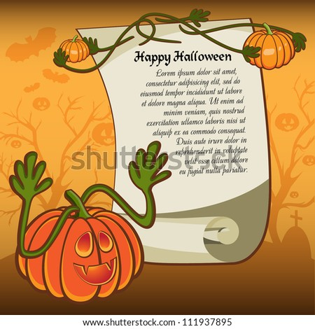 Card with Halloween Background with pumpkin. Grouped for easy editing. Perfect for invitations or announcements.