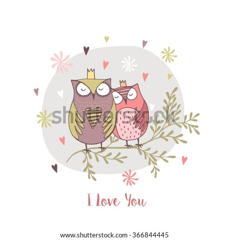 card with hand drawn owls with flowers.I love you - stock vector