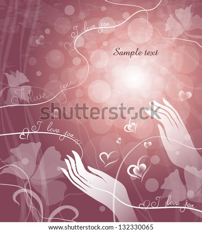 card with hands and hearts - stock vector