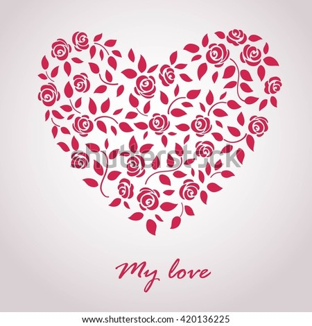 card with heart of roses - stock vector
