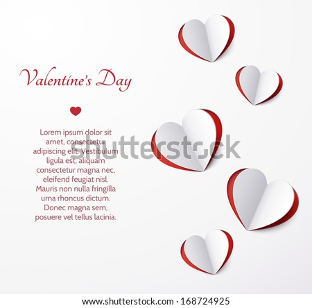 Card with hearts cut out of paper. Valentine's Day. Template. Vector illustration. - stock vector