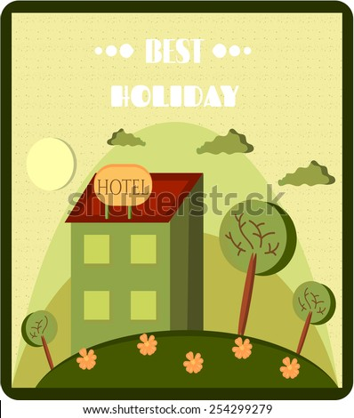 Card with hotel on the green hill with flowers - stock vector