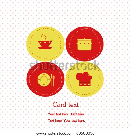 Card with kitchen elements - stock vector