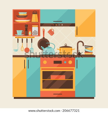 Card with kitchen interior and cooking utensils in retro style. - stock vector