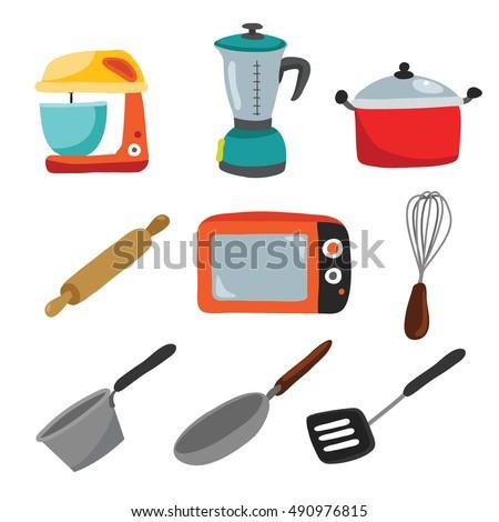 Hand Drawn Kitchen Utensil Icons Baking Stuff And Retro Kitchen