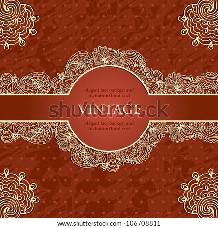 Card with Lace Design Frame on seamless vintage background - stock vector