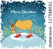 Card with merry deer on hill. Blue vintage background. Christmas landscape with snowfall. Vector Illustration. - stock photo