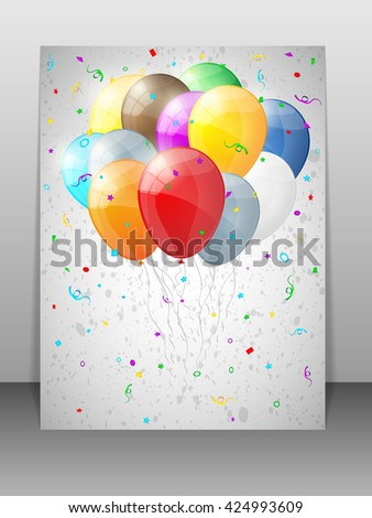 Card with multicolored balloons.  Happy birthday background with balloons. Vector illustration. - stock vector