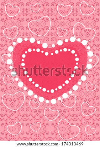 Card with ornaments, hearts and ribbons. Can be used for Valentine day - stock vector