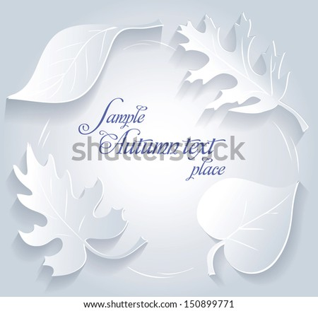 Card with paper leaves. - stock vector