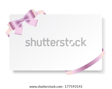 Card with pink bow and ribbon on white. Vector illustration