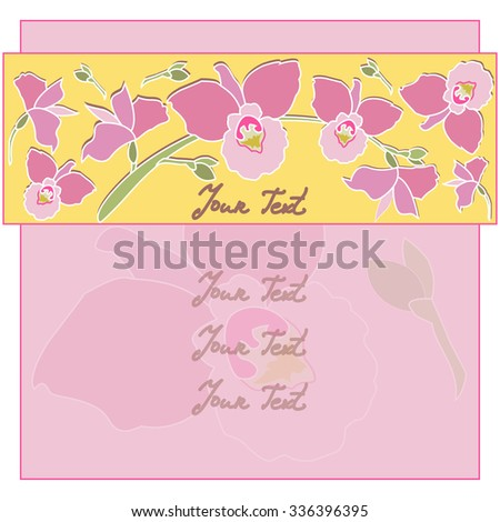 Card with pink orchid flowers. Vector background with Flowers