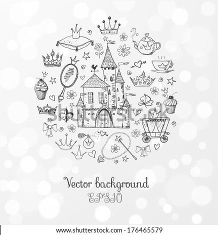 Card with princess' accessories. Vector sketch illustration. - stock vector