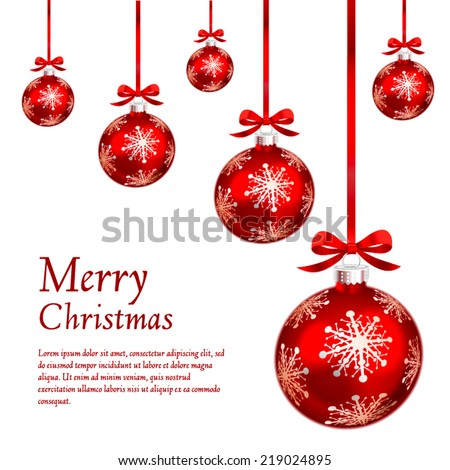 Card with red christmas ornaments. Vector Illustration. - stock vector