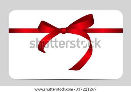 Card with Red Gift Ribbon. Vector illustration EPS10 - stock vector
