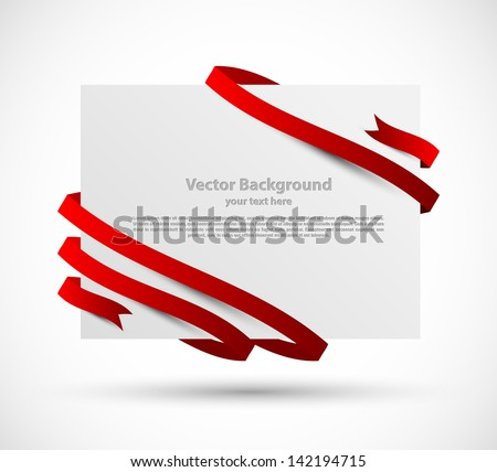 Card with red ribbon - stock vector