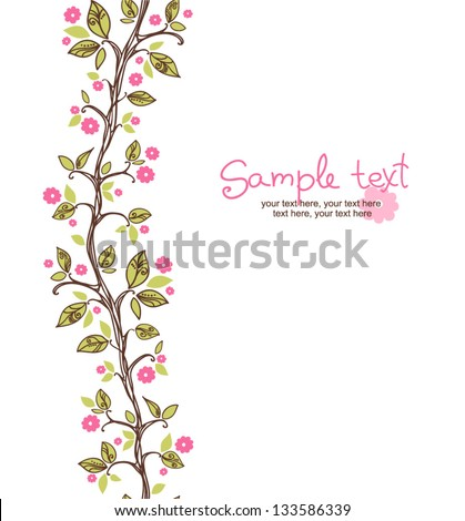card with seamless pattern. spring cherry blossoms - stock vector