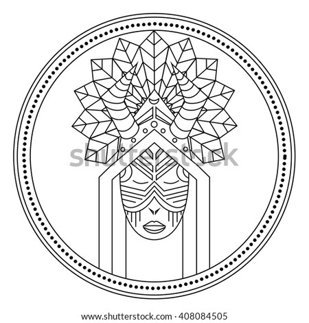 Card with Shaman voodoo master feather, logo design in vector Shaman Illustration for design pattern textiles print on t-shirt cup canvas and other object, for logo sites. Tribal style, ethnic style - stock vector