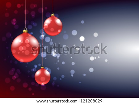 Card with shiny red baubles and sparkles - stock vector