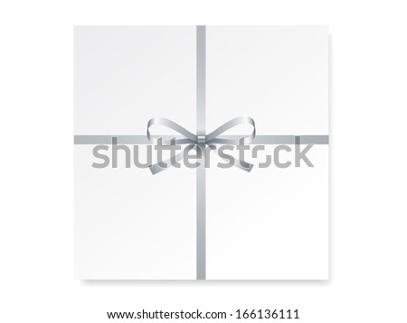 card with single gift bow of silver color, cross ribbon on white, vector - stock vector