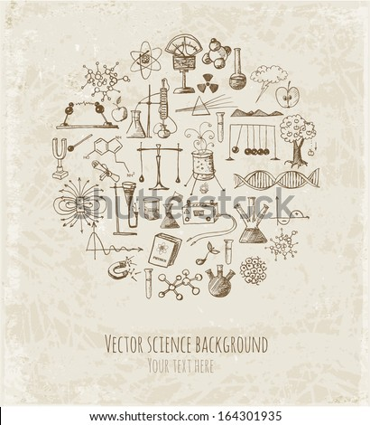 Card with sketch science objects in vintage style. Physics and chemistry. Vector illustration.  - stock vector