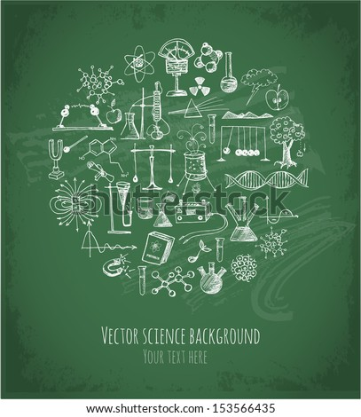 Card with sketch science objects on chalkboard. Physics and chemistry. Vector illustration. - stock vector
