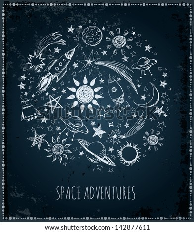 Card with sketchy space objects and place for your text. Vector illustration - stock vector