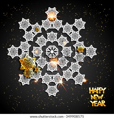 Card with snowflakes on black background and golden elements. Holiday background  for design card, banner, ticket, leaflet and so on. - stock vector