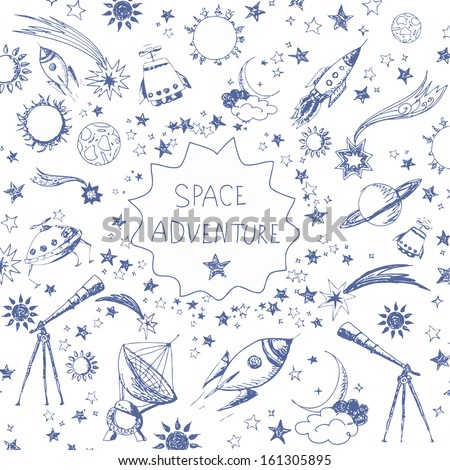 Card with space objects: stars, rockets, planets, the moon, the sun etc. Hand-drawn with ink. Vector illustration. - stock vector
