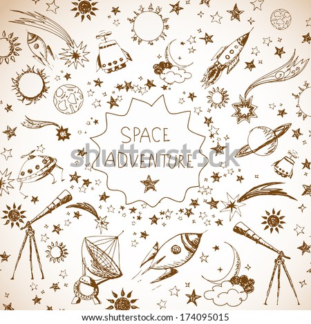 Card with space objects: stars, rockets, planets, the moon, the sun etc. Hand-drawn with ink in vintage style.  - stock vector