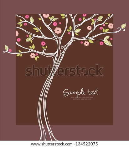 card with stylized blossoming tree