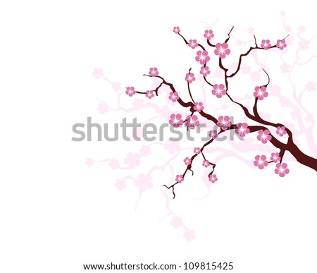 Card with stylized cherry blossom, vector image for design - stock vector