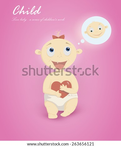 Card with the baby. baby pictures for printing. greeting card with a baby