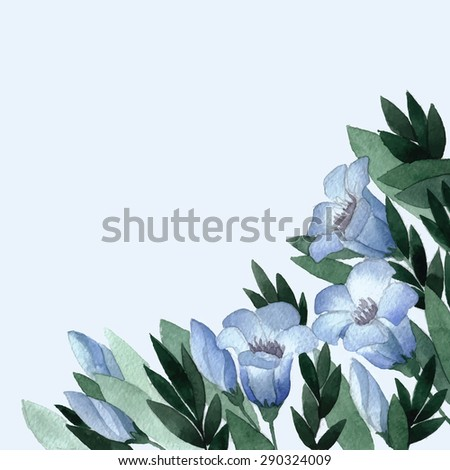 Card with the gentle blue flowers drawn with a water color.Wild flowers.Vector illustration. - stock vector