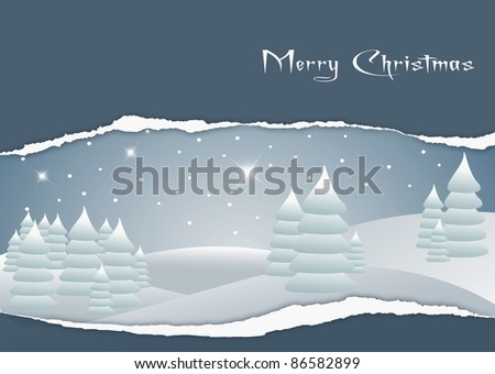 Card with the image of a Christmas landscape