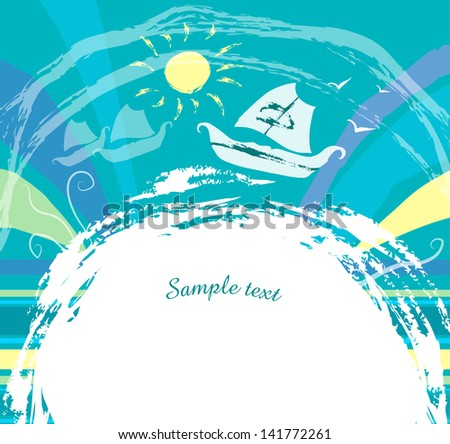card with the sea and the ship blue background - stock vector