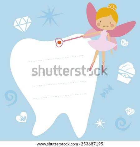 Card with The Tooth Fairy - stock vector