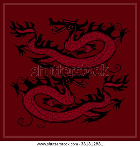 Card with two Chinese dragons on a red background. Vector illustration