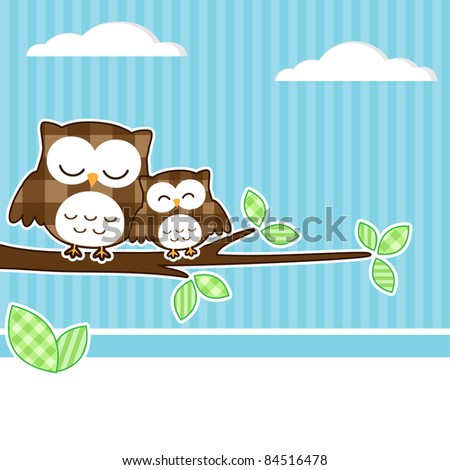 Card with two owls on branch at day - stock vector