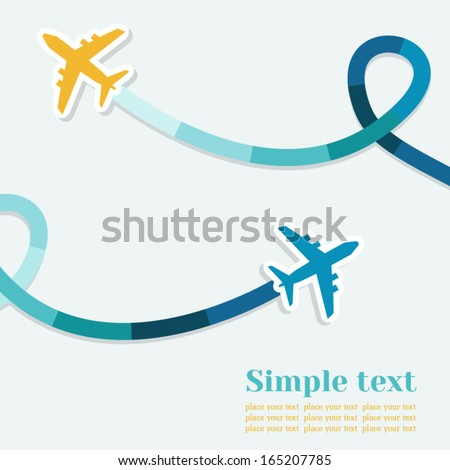 Card with two planes and colored trace of them. Vector background with place for text. - stock vector