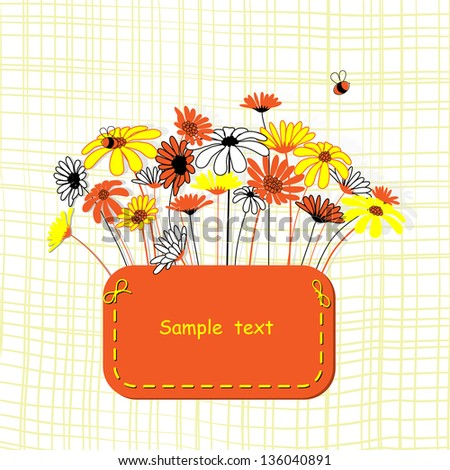 Card with vector stylized flowers.  Calendula and camomile